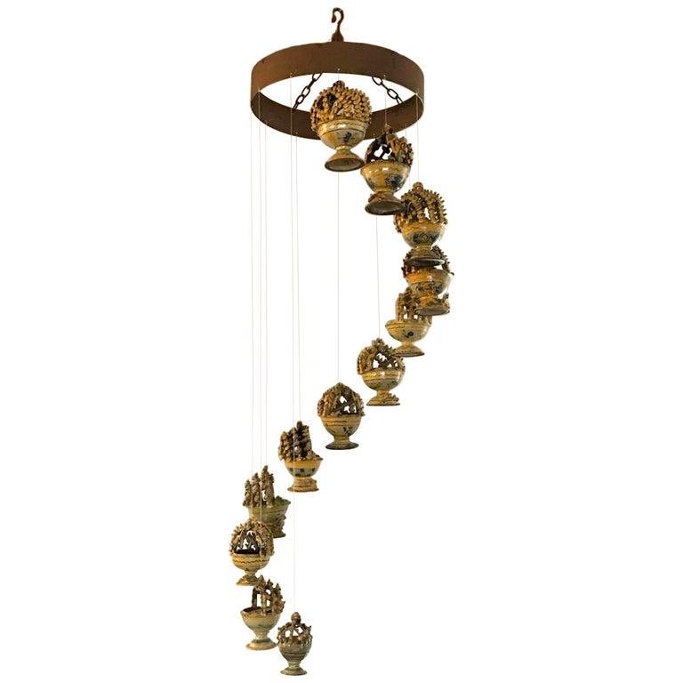 Mobile/Hanging Sculpture of Antique Guatemalan Majolica Incense Burners For Sale
