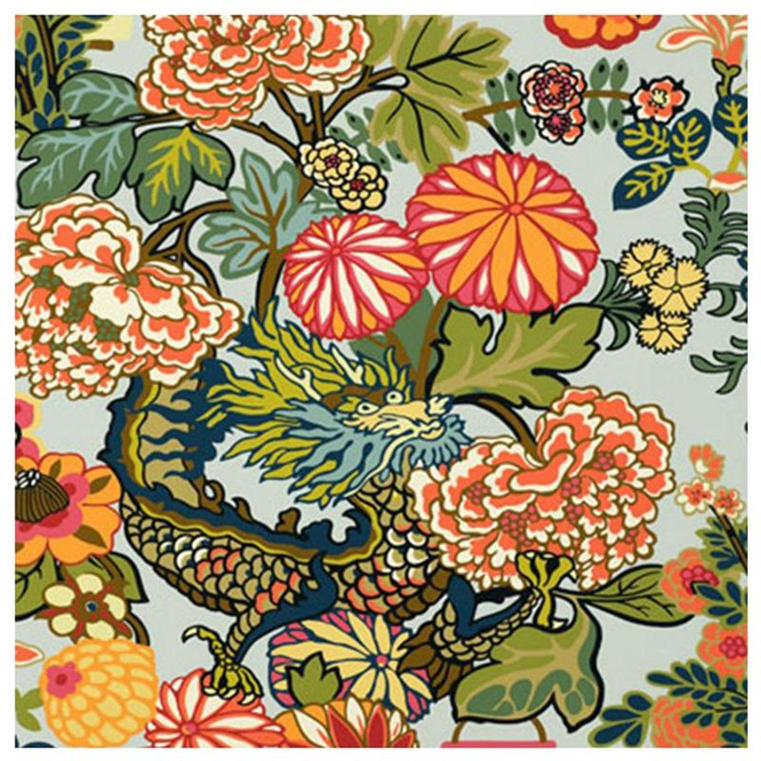 19410c211 Schumacher Chiang Mai Dragon Chinoiserie Aquamarine Wallpaper For Sale at  1stdibs
