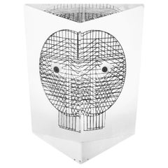 Pop Art decorative Lucite Owl 3D Sculpture