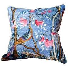 'Vintage Cushions' Luxury Bespoke Silk Pillow 'Bird of Paradize' Made in London