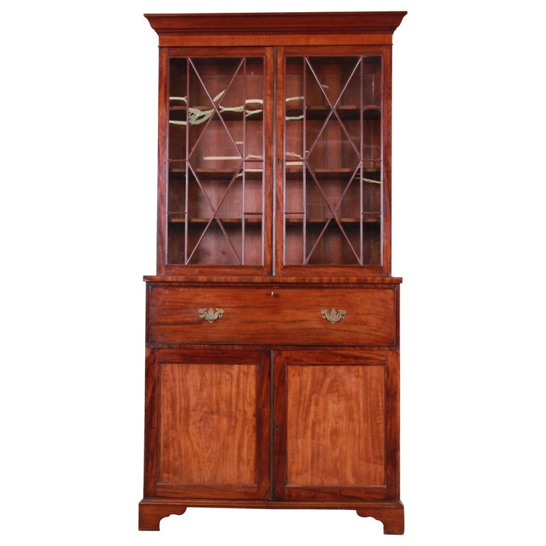 English George III Style Drop Front Secretary Desk with Bookcase, circa 1870 For Sale