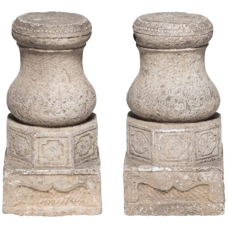 Pair of 19th Century Chinese Drum Form Column Bases For Sale