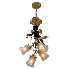 French Early 20th Century Doré Bronze Chandelier