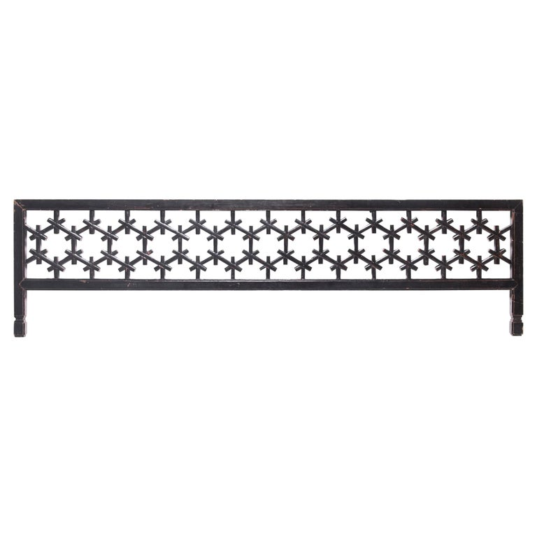 19th Century Chinese Honeycomb Lattice Headboard For Sale