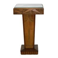 Art Deco Pedestal Table Sellette Mirror Top French Manner Sue et Mare