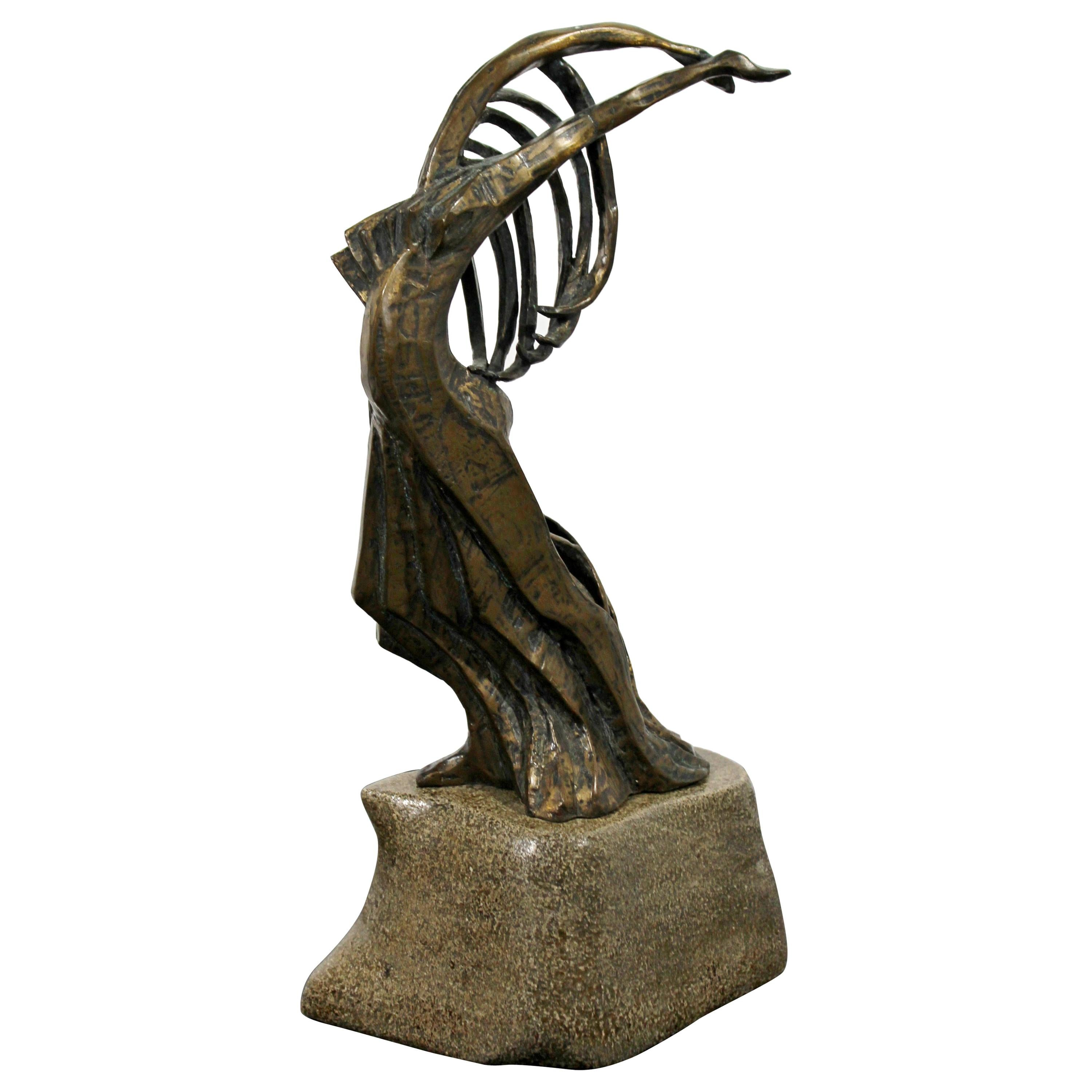 Contemporary Modern Bronze on Stone Female Figure Table Sculpture Signed 1999