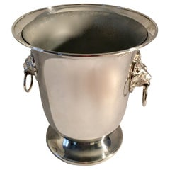 Sheffield Silver Plate Champagne Bucket with Lion Head Handles