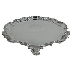 Antique English Sterling Silver Salver with Aristocratic Presentation