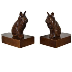 Art Deco Bulldog Bookends, Wood, Europe