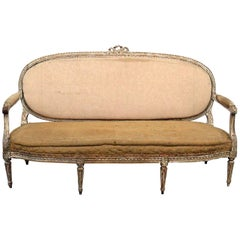 Antique Distressed Finish Antique Louis XVI Style Sofa Settee Canape