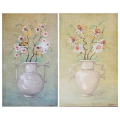 Pair of Fresco Paintings by Jacques Lamay
