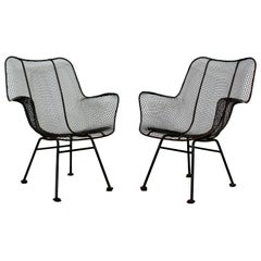 Mid-Century Modern Pair of Black Woodard Sculptura Outdoor Patio Armchairs 1950s
