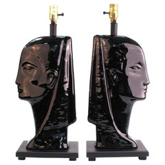 Mid-Century Modern Black Ceramic Head Table Lamps