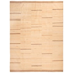 Contemporary Beige and Cream Stripe Wool Kilim Rug