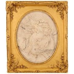 Italian 19th Century Carrara Marble Relief in a Giltwood Frame