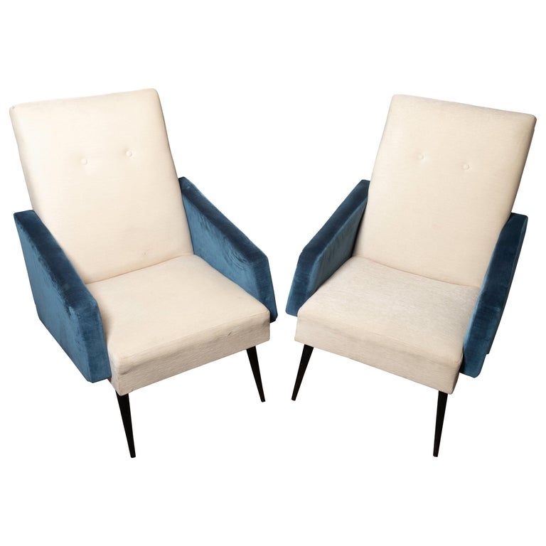 Pair of Blue and White Upholstered Armchairs For Sale