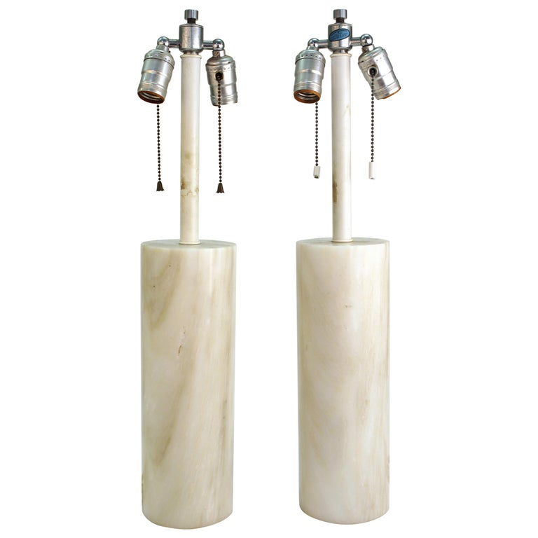 Mid-Century Modern Nessen Table Lamps in White Marble For Sale