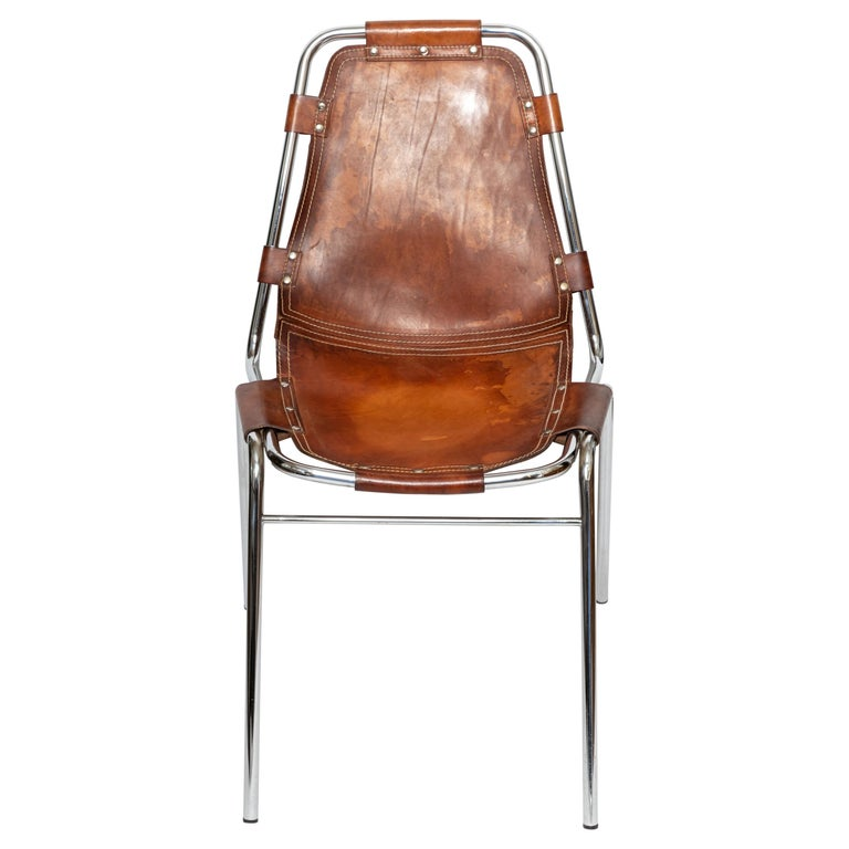 Set of Six Stacking Leather and Chrome Chairs For Sale