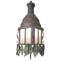 French 1950s Wrought Iron Single Light Lantern with 8 Panels of Frosted Glass