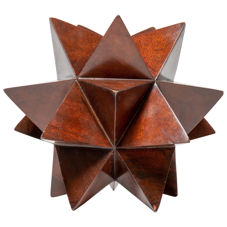 """Wood Geometric """"Star"""" Form Sculpture"""