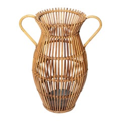 Unusual Rattan Form Handled Umbrella Stand with Galvanized Pan