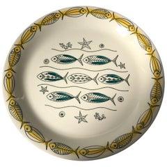Set of Midcentury Ceramic Fish Plates by Inger Waage for Stavangerflint, 1950s