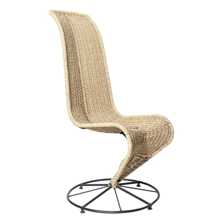 """Pair of Black Lacquered and Beige Wicker Rope """"S"""" Chairs by Marzio Cecchi For Sale"""
