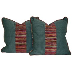 Pair of Faille and Woven Pillows
