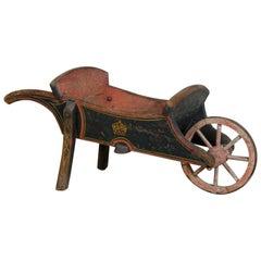 George III Original Painted Pine Wheelbarrow / Book Barrow