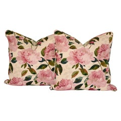 Pair of Cotton Floral Pillows with Peony Design