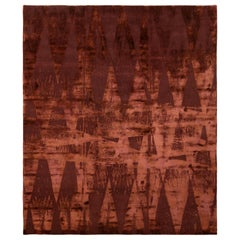 Contemporary  Burgundy Diamond Wool and Silk Rug