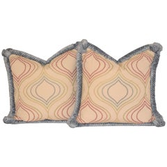 Embroidered Cotton and Chenille Pillows