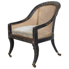 Regency Original Painted Bergère Armchair Attributed To Gillows