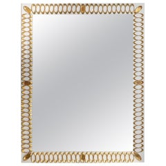 Rectangular Pearl and Grey Glass Mirror with Brass Oval Decorative Design