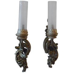 Pair of XIX One  Light Bronze Sconces with Frosted Glass Funnel like Shades