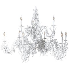 Faux Coral Metal Chandelier with Nine Candelabras