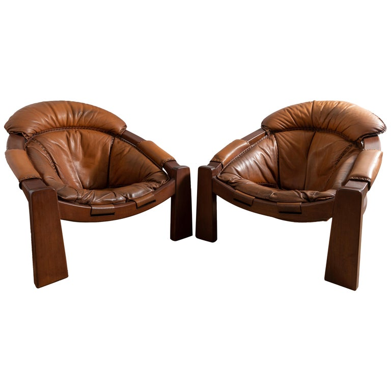 Pair of Wood Frame and Leather Armchairs For Sale
