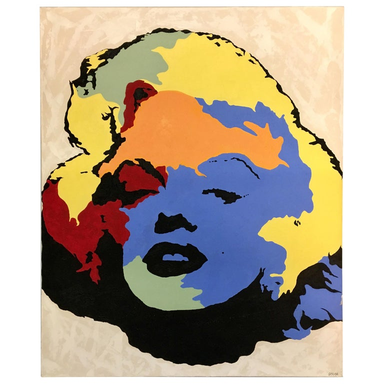 Original Signed Painting Marilyn Monroe by Giordano For Sale