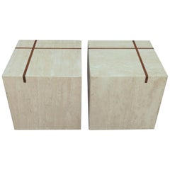 Pair of Travertine Cube End Tables with Teak Banded Inlay, circa 1970s