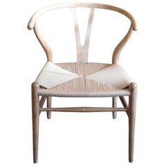 Danish 1960s Wishbone White Oak Armchair