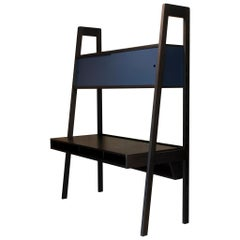 Collector Desk in Blackened Ashwood with Blue Lacquered Sliding Doors