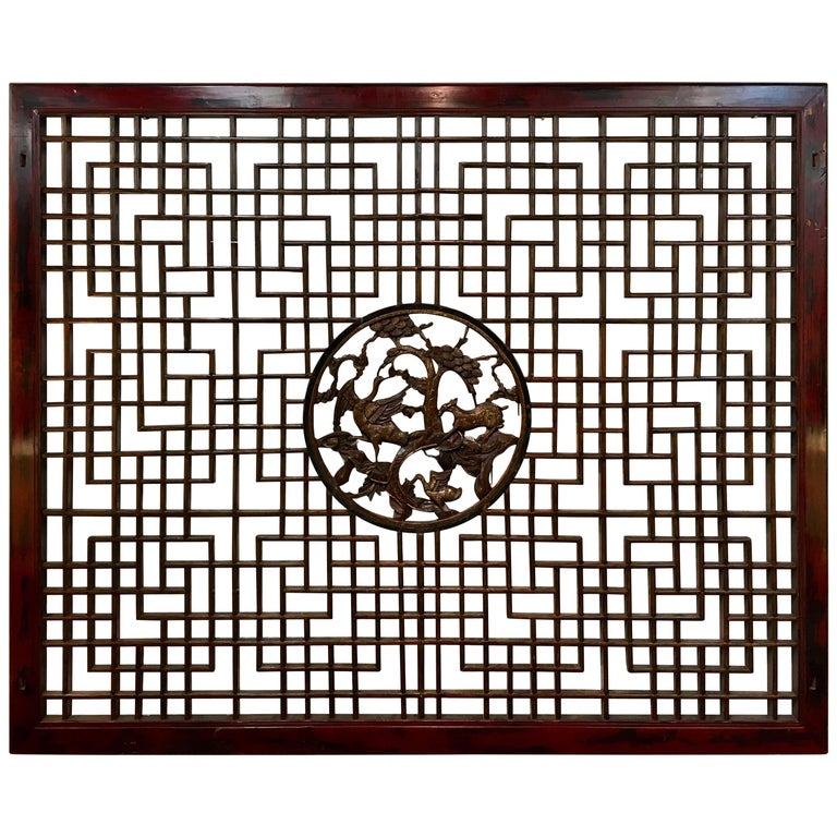 Asian Chinese Carved Mahogany Lattice Wall Sculpture Screen Panel Open Fretwork For Sale