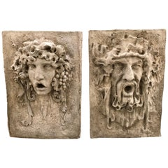 Pair of Cast Stone Figural Greek Large Garden Plaques