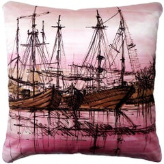 'Vintage Cushions' Luxury Bespoke-made silk pillow 'Ships', Made in London