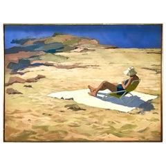 Original Artist Signed Mimi Korach Lesser Woman on Beach Oil Painting