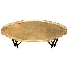 Baker Furniture Large Brass Tray Coffee Cocktail Table