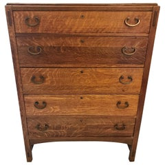 Arts & Crafts Oak Chest of Drawers Dresser