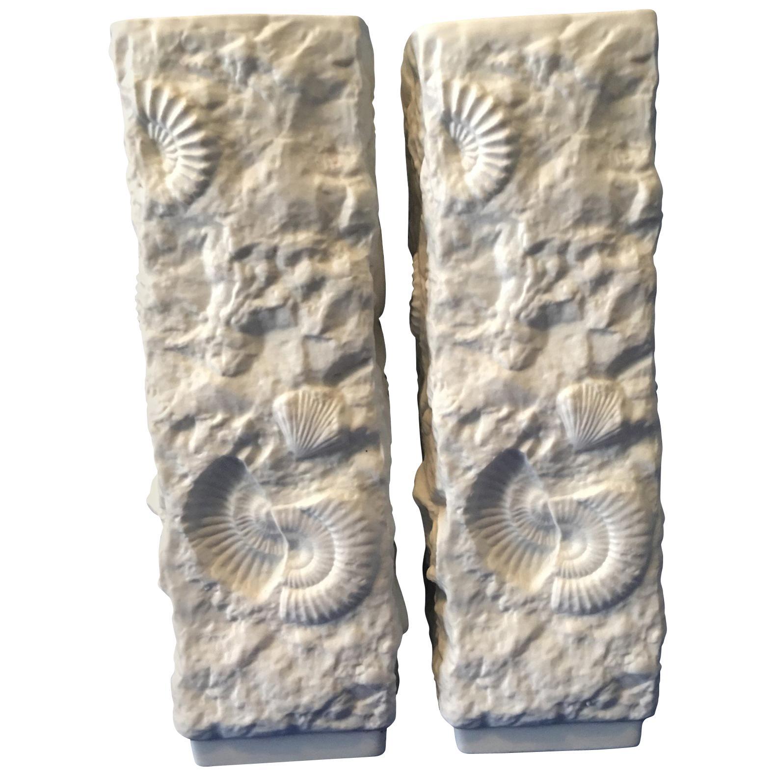 Pair of White Fossil Rock Matte  Porcelain Vases by Kaiser of Germany