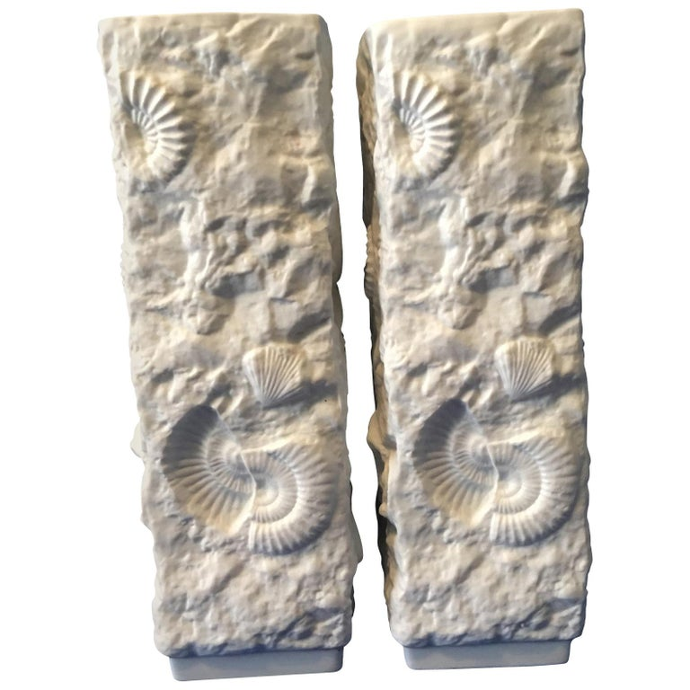 Pair of White Fossil Rock Matte  Porcelain Vases by Kaiser of Germany For Sale