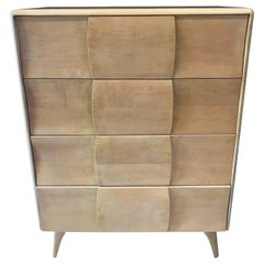 Heywood Wakefield Sculptura Four Drawers Mid-Century Modern Tall Chest Dresser